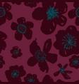 sophisticated pink burgundy floral pattern vector image
