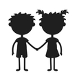 Twins happy kids holding hands black silhouette vector image vector image