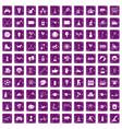 100 kids activity icons set grunge purple vector image vector image