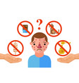 allergy triggers unhappy man suffering from vector image vector image