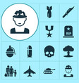 army icons set collection of panzer rocket vector image vector image