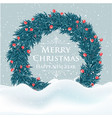 beautiful christmas card with tree wreath and vector image