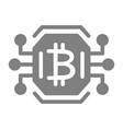 bitcoin chip solid icon video card or gpu vector image vector image