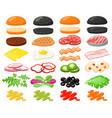 burger ingredients hamburger fast food vector image vector image