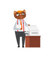 businessman cat printing documents funny vector image vector image