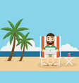 businessman working on beach with a laptop vector image vector image