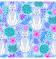 cats and tropical flowers vector image vector image