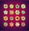 christmas colorful neon snowflakes vector image vector image