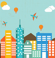 cityscape buildings in retro background vector image vector image