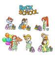 collection of school cartoon children vector image vector image