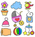 collection stock of baby doodle set vector image vector image