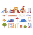 colored playground equipment set flat vector image
