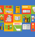 colorful collage with books in flat style vector image