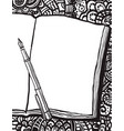 coloring page with notebook pen and doodle bg vector image vector image