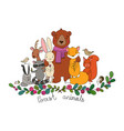 cute cartoon forest animals cheerful bear fox vector image vector image