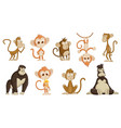 cute funny monkeys colorful cartoon collection vector image vector image