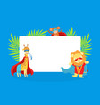 cute superhero animals with blank banner giraffe vector image vector image