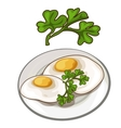 Delicious fried eggs on plate with parsley vector image vector image