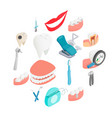 dental set icons isometric 3d style vector image
