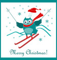 funny cute skiing owl new year and christmas card vector image