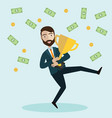 happy business man jumping under money rain with vector image