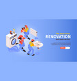 home renovation isometric banner vector image vector image