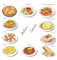 italian cuisine set collection food dishes vector image vector image