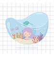 mermaid fishes coral cartoon under sea vector image vector image