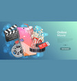mobile movie theater online cinema watching vector image vector image