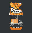 mobile tray for selling pizza in retro style vector image vector image