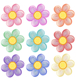Nine colorful flowers vector image vector image