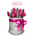 pink tulip flowers bouquet watercolor mother day vector image vector image