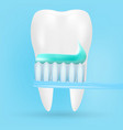 realistic tooth and toothbrush poster stomatology vector image vector image