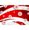 red wavy christmas background with snowflakes vector image vector image