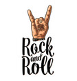 rock and roll sign black vintage engraved vector image vector image