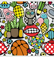 seamless pattern with body parts nirds and toys vector image vector image