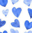 Seamless pattern with watercolor hearts vector image