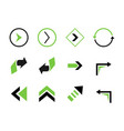 set colored arrows elements vector image