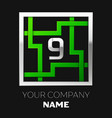 silver number nine logo symbol in the square maze vector image vector image