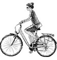 sketch a young townswoman riding a bicycle vector image
