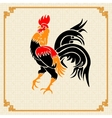 Stylized red rooster on the background of the vector image vector image