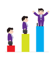 Successful businessman on chart vector image vector image
