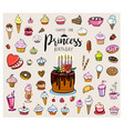 sweets for princess birthday vector image