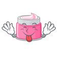 tongue out face cream in a cartoon jar vector image