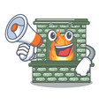 with megaphone character fireplace with red brick vector image vector image
