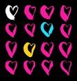 Brush drawn hearts vector image