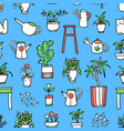 hand drawn houseplants and flowers vector image