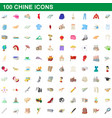 100 chine icons set cartoon style vector image vector image