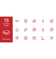 15 leather icons vector image vector image