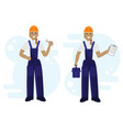 a female repairer engineer with a spanner in hand vector image
